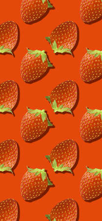 Whole strawberry fruit pattern on red color