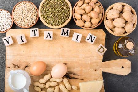 Different foods ingredients rich in vitamin D Archivio Fotografico