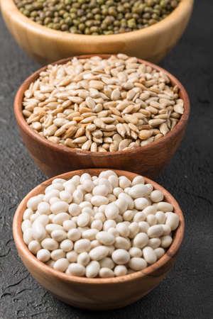 Different edible seeds rich in vitamin D Archivio Fotografico
