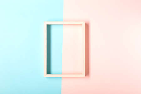 Picture frame design with shadow on pastel pink and blue background Archivio Fotografico