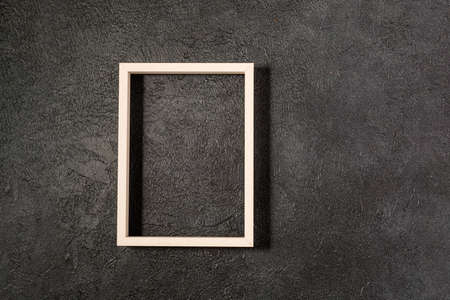 Wood frame on black background template for posters and banners