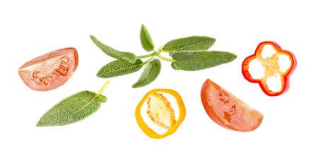 Horizontal fresh vegetables banner on white background Archivio Fotografico