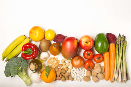 Healthy food clean eating on white background with copy space
