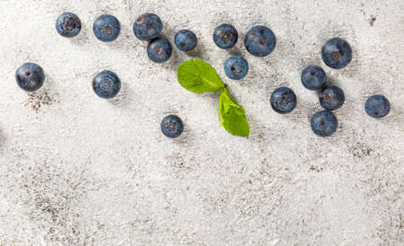 Blueberries on lihgt grey concrete table, flat lay