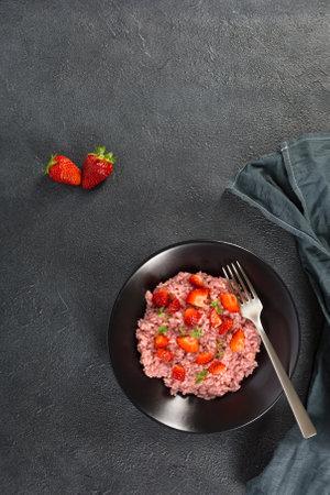 Fresh strawberry risotto a delicate and elegant dish