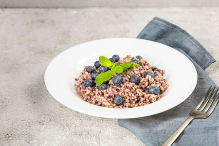Delicious risotto with blueberries served on lihgt grey concrete table