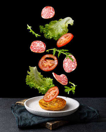 Creative concept with falling food on black backdrop Archivio Fotografico