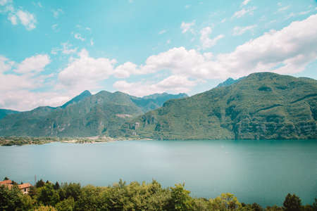 natural landscape with lake and green mountain peaks in summer Archivio Fotografico