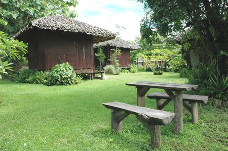 Table Bench Wood Home Garden photo
