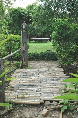 Bamboo Bridge Cool Garden Stock Photo