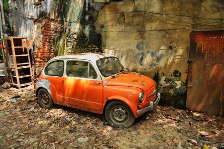 Derelict Mini Car Wall