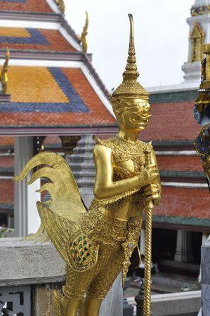 Gold Sculpture Giant Bird Thailand photo