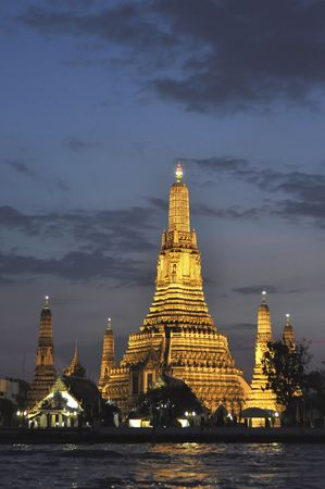 Wat Arun Temple Thailand at Night photo