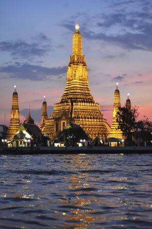 Wat Arun Temple Twilight Thailand Stock Photo