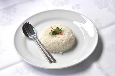 arroz blanco: Arroz al vapor blanco plato de conjunto