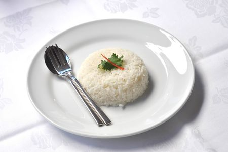 rice grains: Rice Steamed White Dish Set Stock Photo