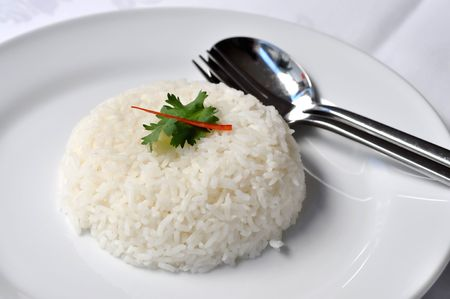 steamed: Rice Steamed White Set Dish