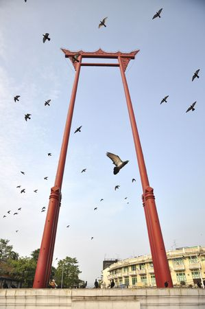Sao Chingcha Flying Pigeon Bangkok Stock Photo
