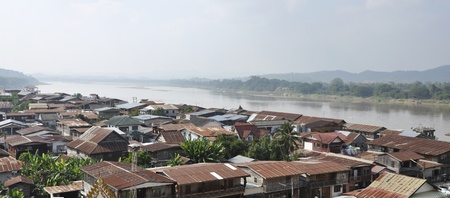 Panorama Of Villages Along The Mekong River Thailand