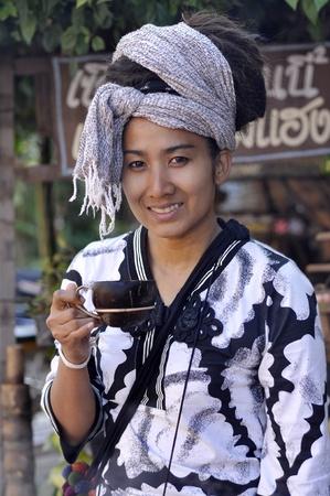 Women Pretty Dreadlock Drink Coconut Cup Stock Photo