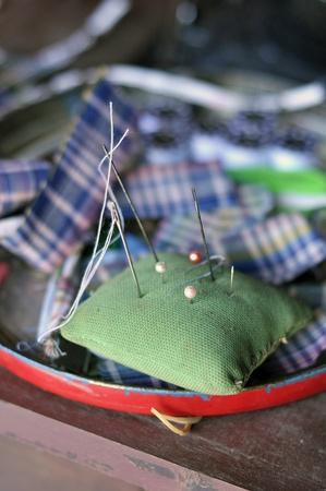 Pin Craft Fabric Work Pillow Stock Photo