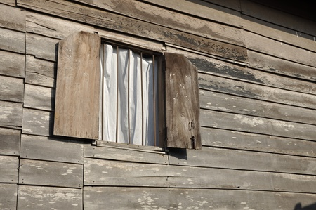 Old Wood Wall Window Day Curtain