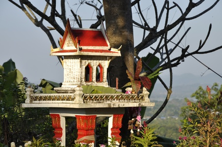 cement pole: Joss House Garden Thailand Day