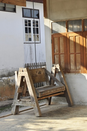 Old Bench Wood Brown House Thailand photo