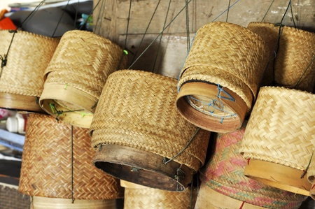 Bamboo Box Thailand Sticky Rice Local Stock Photo