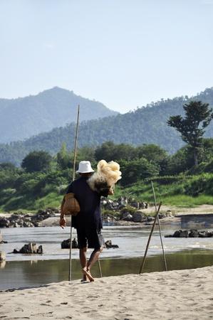 Bamboo Creel Fish Local Man Net Basket photo