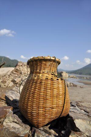 cane creek: Bamboo Creel Fish Sand River Basket