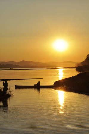 Landscape Sunset Boat Thailand Fisherman River photo