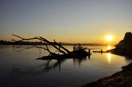 Landscape Sunset Boat Thailand River Fisherman photo