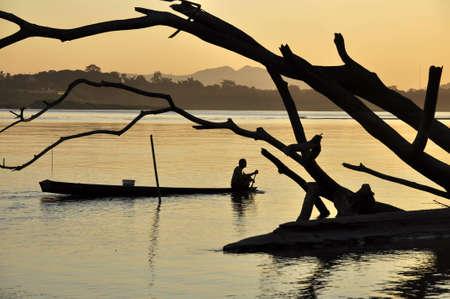 Boat Fisherman River Landscape Thailand photo