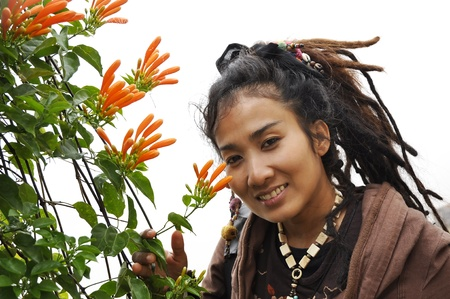 Beautiful Women Hair Flower Dreadlock photo