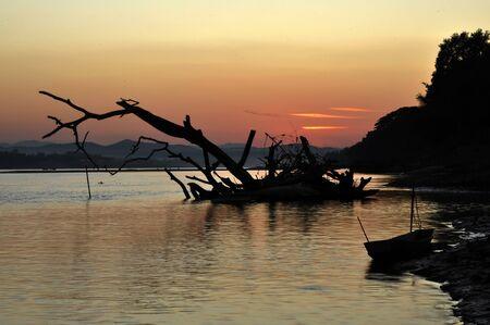 Landscape Sunset Thailand River View Nature Stock Photo