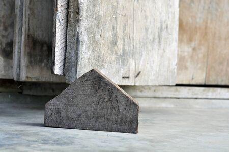 Wood Old Door Pentagonal Block Stock Photo
