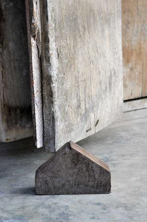 Wood Pentagonal Block Old Door Stock Photo