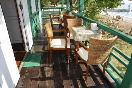 Restaurant Set Rattan Wood Table Stock Photo