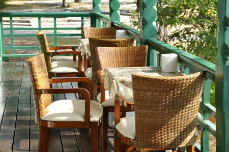 Restaurant Table Set Rattan Wood