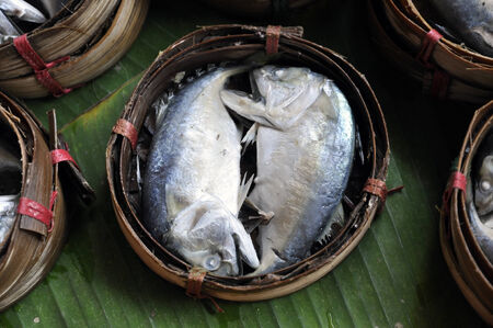 Mackerel Fish Bamboo Basket Thailand photo