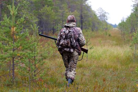 jager wachten op prooi op het moeras Stockfoto