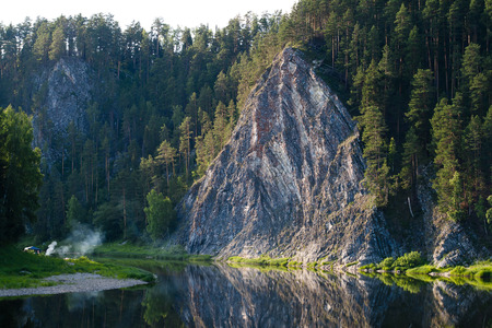 beautiful rock Duzhnoy on the river Chusovaya, landscape monument of nature, Perm region, Russia photo