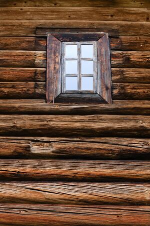 window in a timbered wall photo
