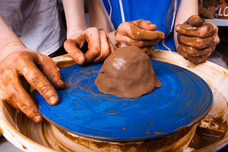 potter: Potter trains to work on pottery wheel