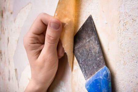 removal of old wallpapers with spatula photo