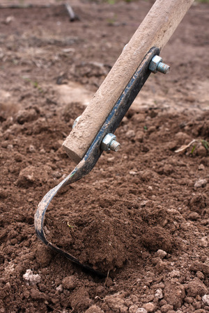 digging: subsurface cultivator digging the soil Stock Photo