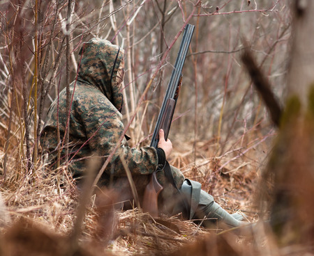 gamebird: well hidden hunter waiting the gamebird