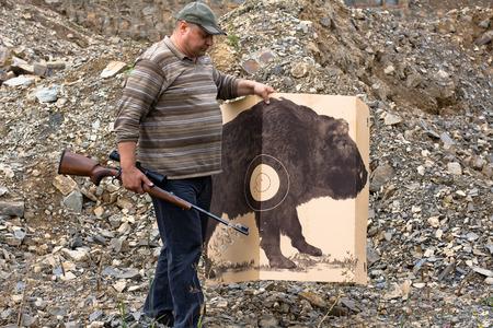 shooting target: hunter with shooting target for shooting