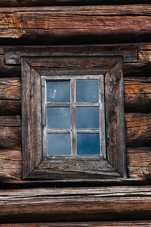 log house: window of a log house, architectural detail